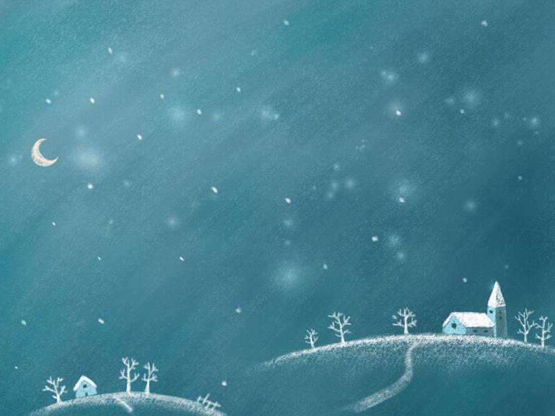 唯美卡通冬季风景壁纸图片