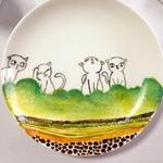 """可爱手绘骨瓷餐碟""""猫咪"""