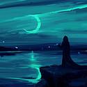夜晚一个人的背影
