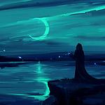 夜晚一个人的背影插画图