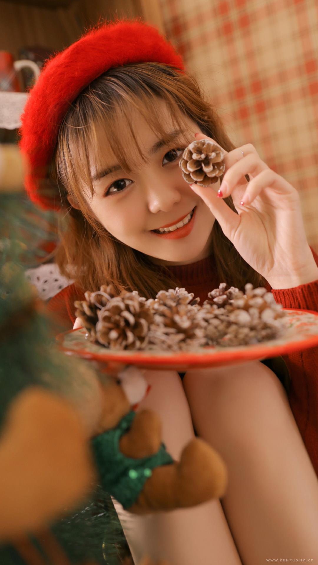 圣诞节元气美女可爱写真图片