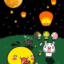 卡通可爱油爆叽丁吃月饼高