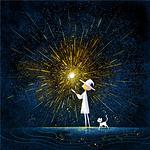 中秋节赏月的卡通月亮空