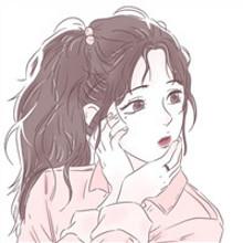 粉色调手绘可爱漫画女生闺