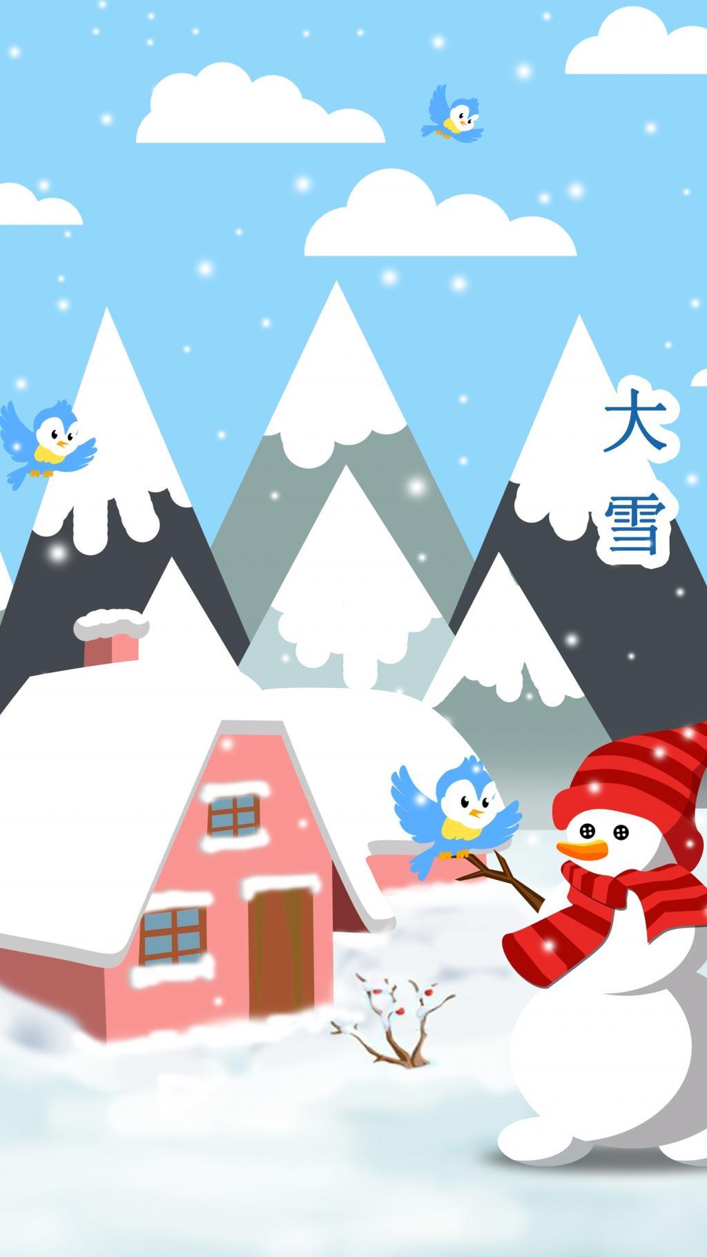 卡通大雪主题手机高清壁纸图片