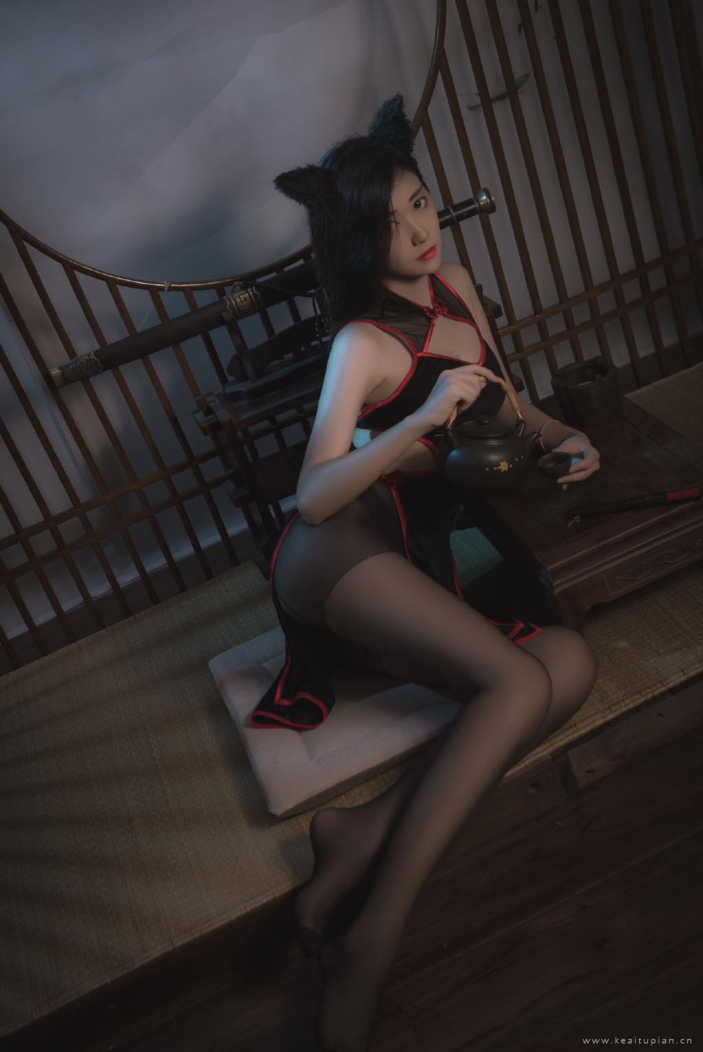 性感黑暗系猫女郎黑丝诱惑写真图片大全