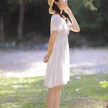 森系迷人梦幻美女白色连衣
