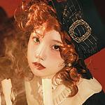 红色卷发少女贵气复古优