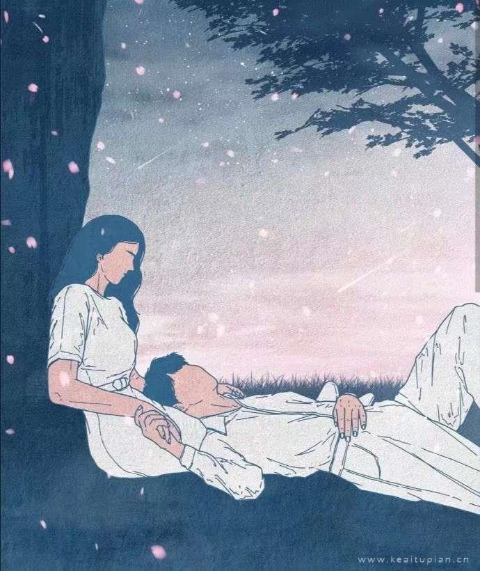 甜美的情侣手绘梦幻手机壁纸创意图片