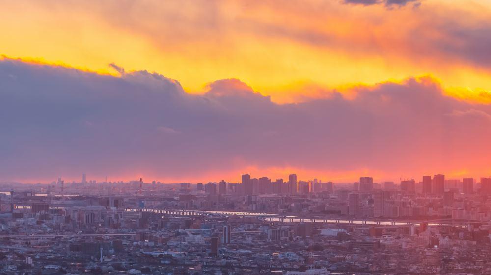 好看的城市街道黄昏夕阳夜景高清素材图片