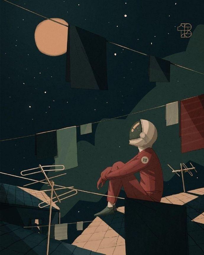 13号卡通宇航员手绘插画图片
