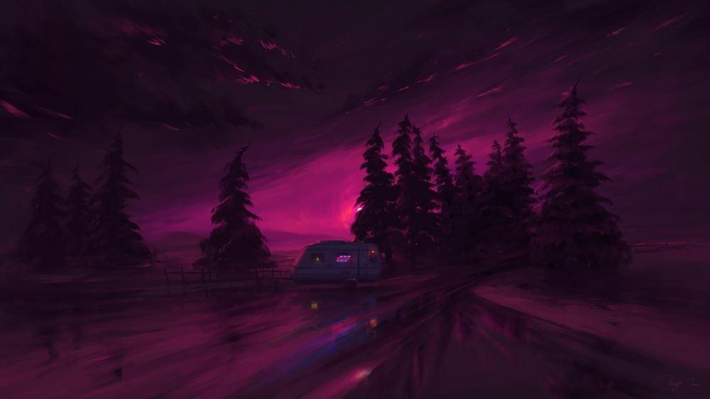 最新2021年绚丽紫红色夜光房车和森林唯美意境图片