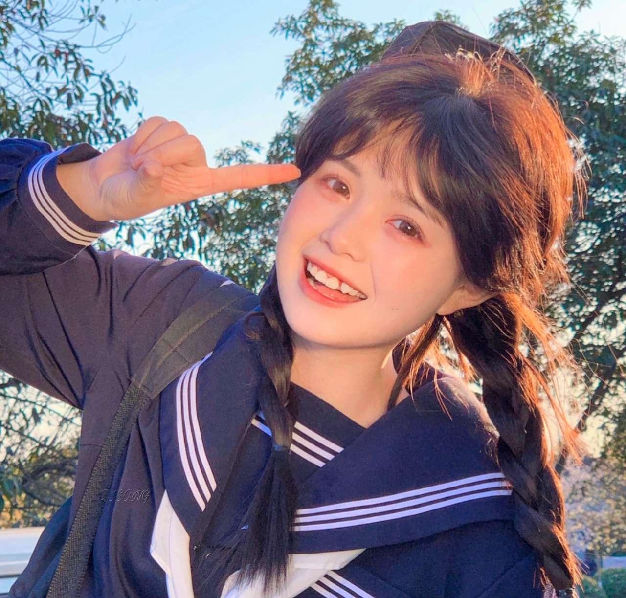甜美日系女生真人可爱俏皮qq微信头像图片