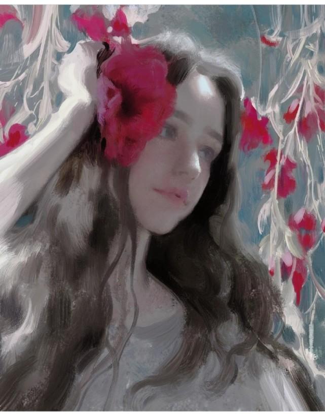 欧美优质美女手绘油画优雅微信高清头像图片