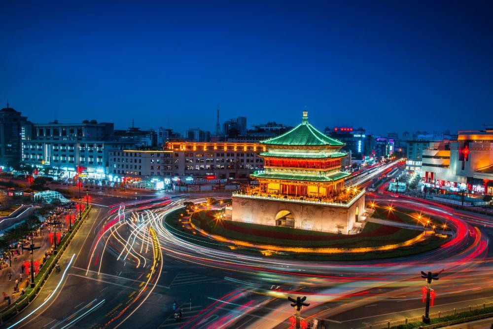 西安钟楼旅游景点高清风景图片
