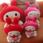 可爱的四个粉色娃娃