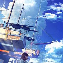 蓝色天空下的动漫男生女生