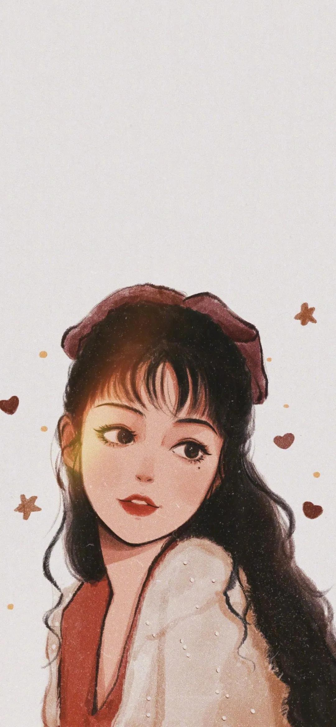 美女明星粉丝手绘高清手机壁纸图片