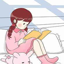 动漫卡通女生看书日常手绘